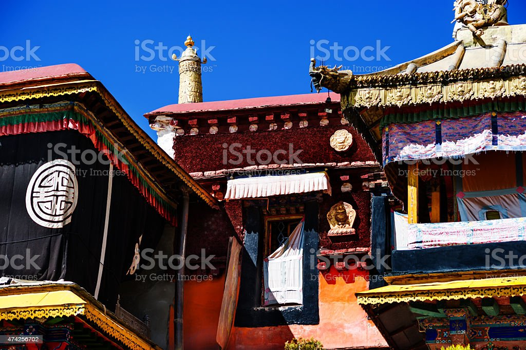 Decoration on roof of the Jokhang temple in Lhasa, Tibet stock photo