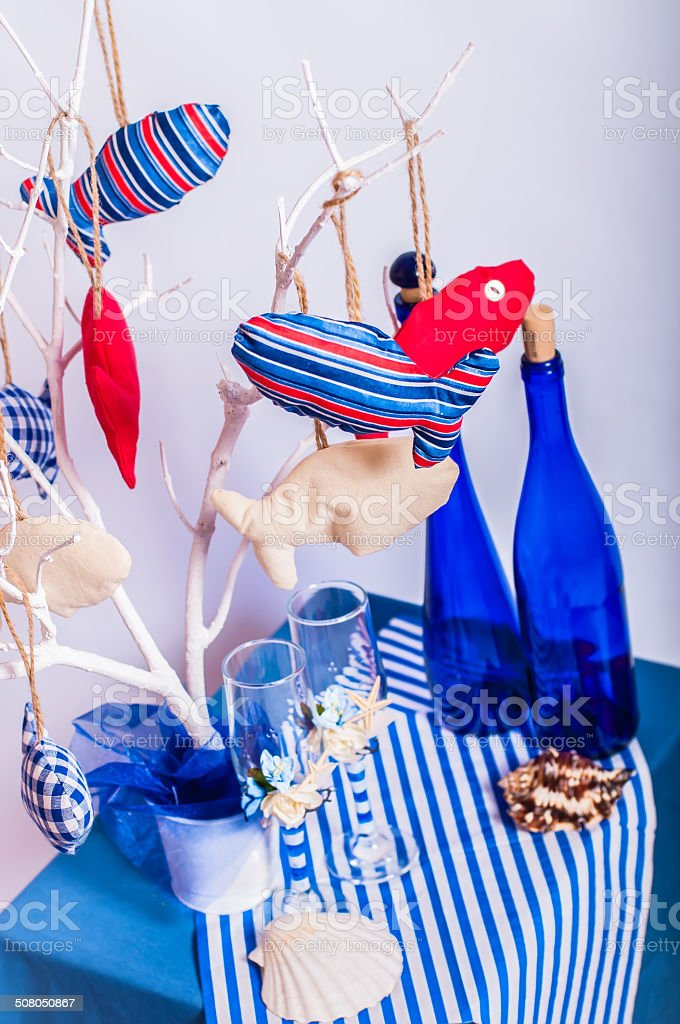 Decoration on the marine theme with seashells, fish stock photo