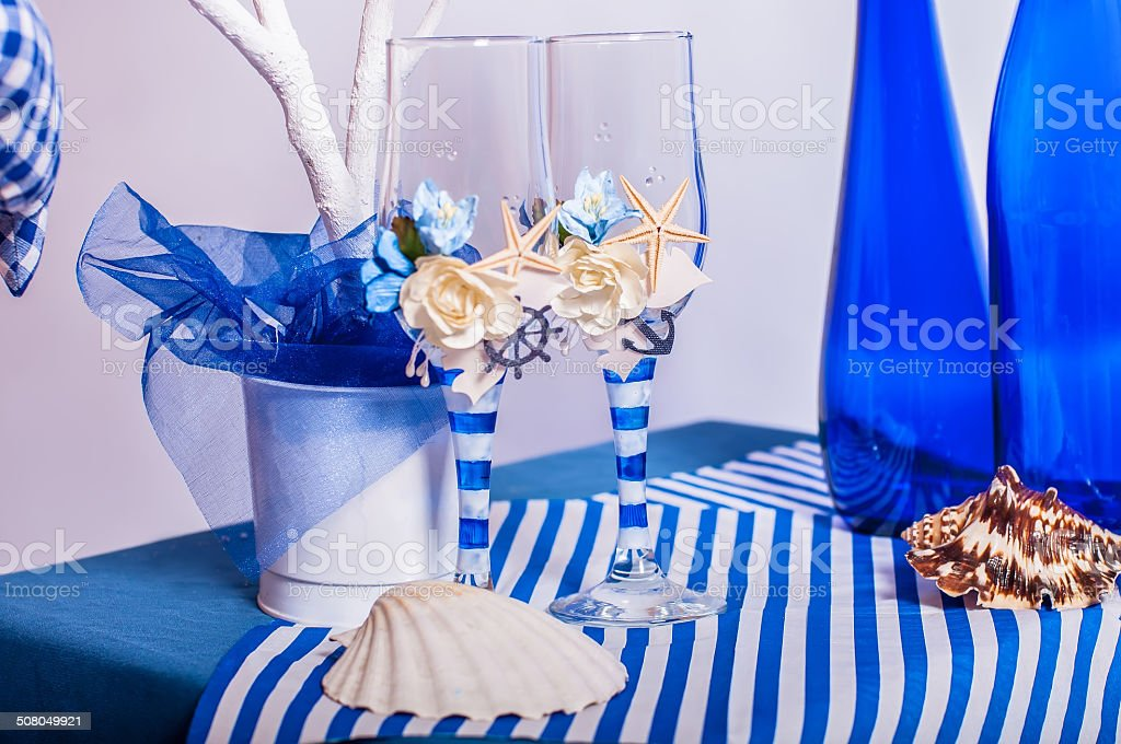 Decoration on the marine theme with seashells stock photo