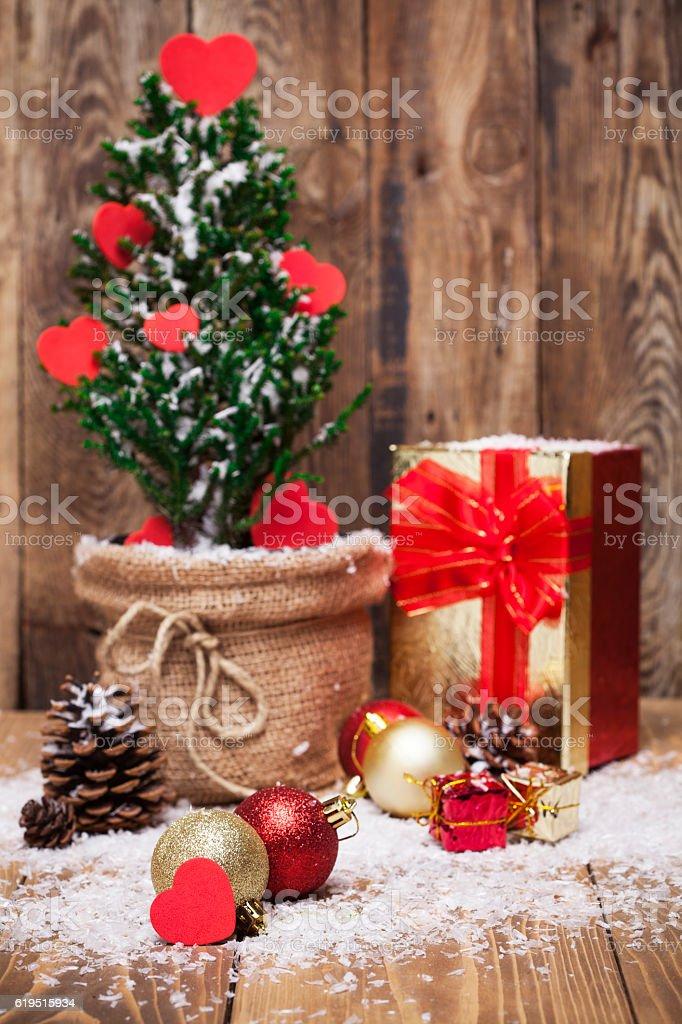 Decoration  on wooden  background stock photo