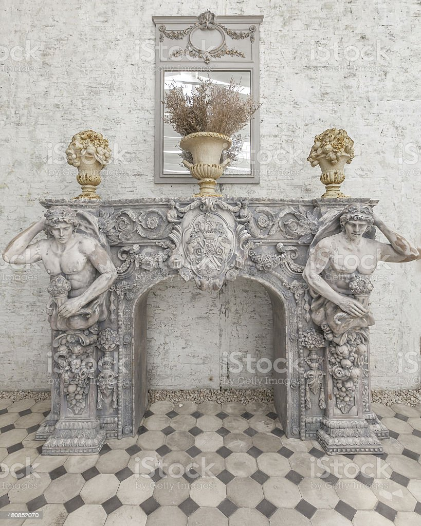 Decoration Sculpture with French Rococo Style. stock photo