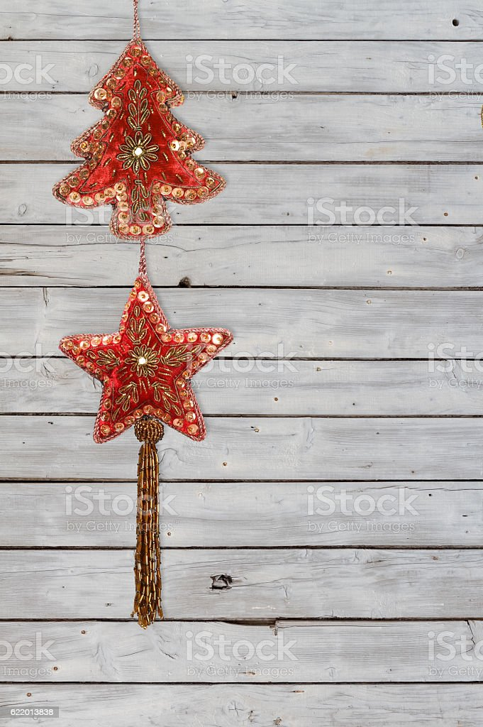 Decoration String with Christmas Tree and Christmas Star Velvet Ornaments – Foto
