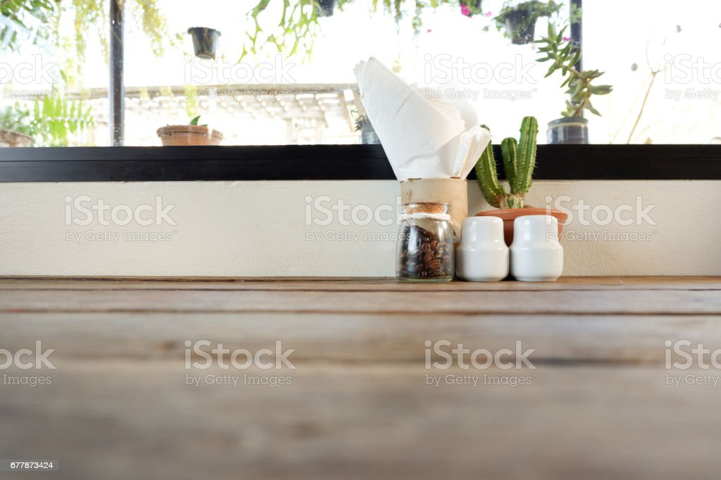 decoration table near the window in cafe stock photo
