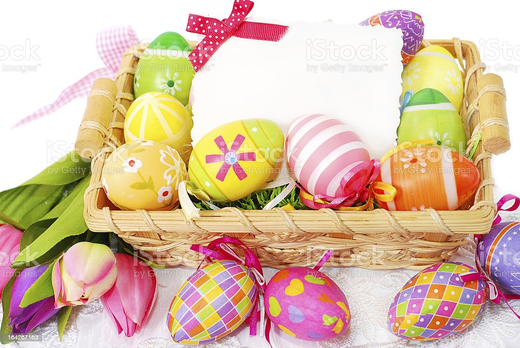 decoration with easter painted eggs and greeting card royalty-free stock photo