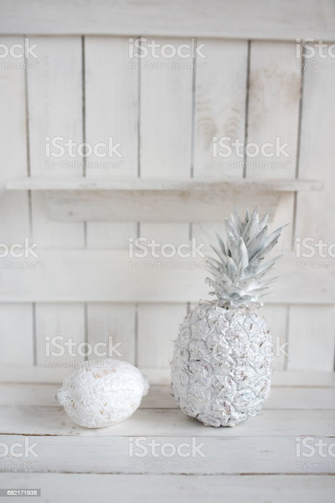 Decoration with fruits on white wood stock photo