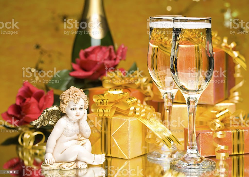 Decoration with gift boxes royalty-free stock photo
