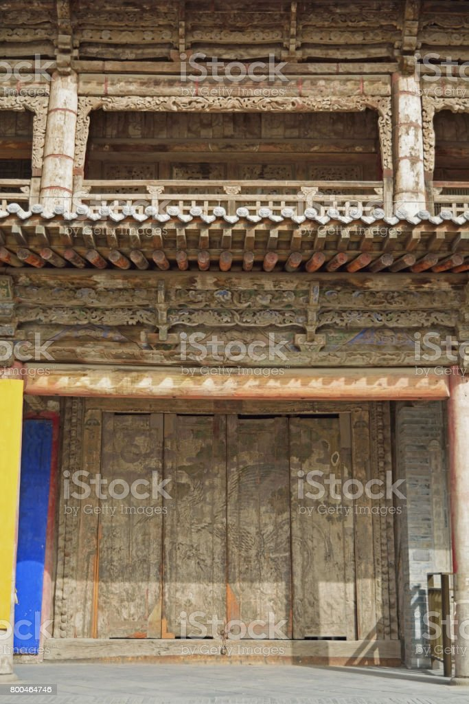Decoration wood carving in Giant Buddha Temple in Zhangye, China stock photo