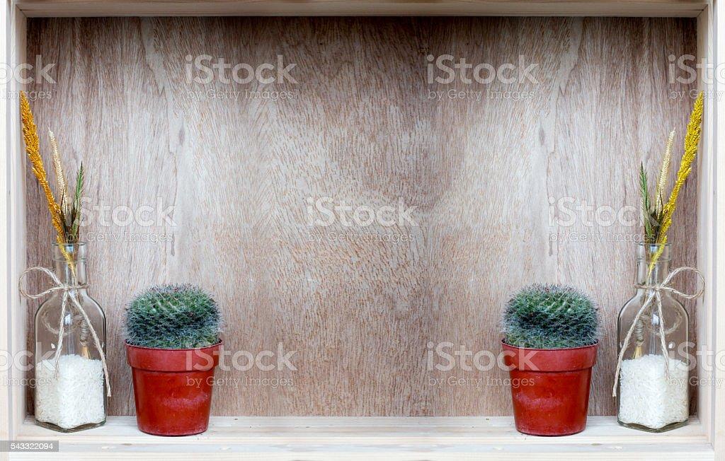decoration wood shelt in garage stock photo