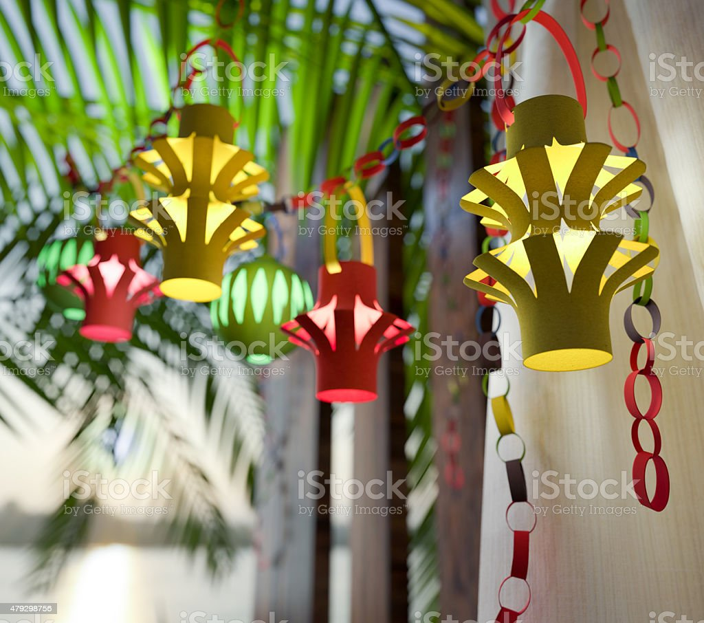 Decorations inside a Sukkah during the Jewish holiday celebration stock photo