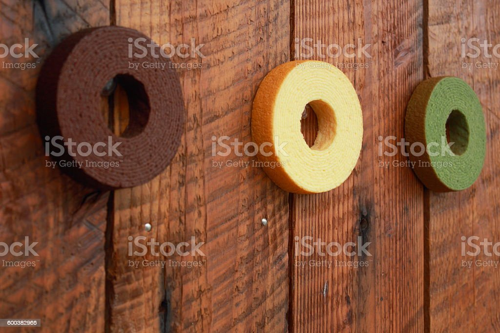 Decorations of baumkuchen ring stock photo