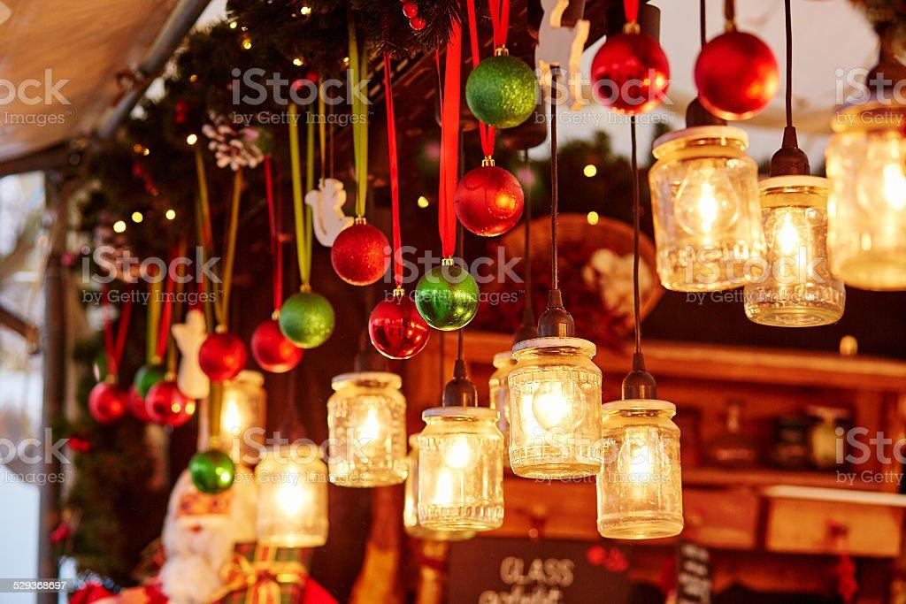 Decorations on a Parisian Christmas market stock photo