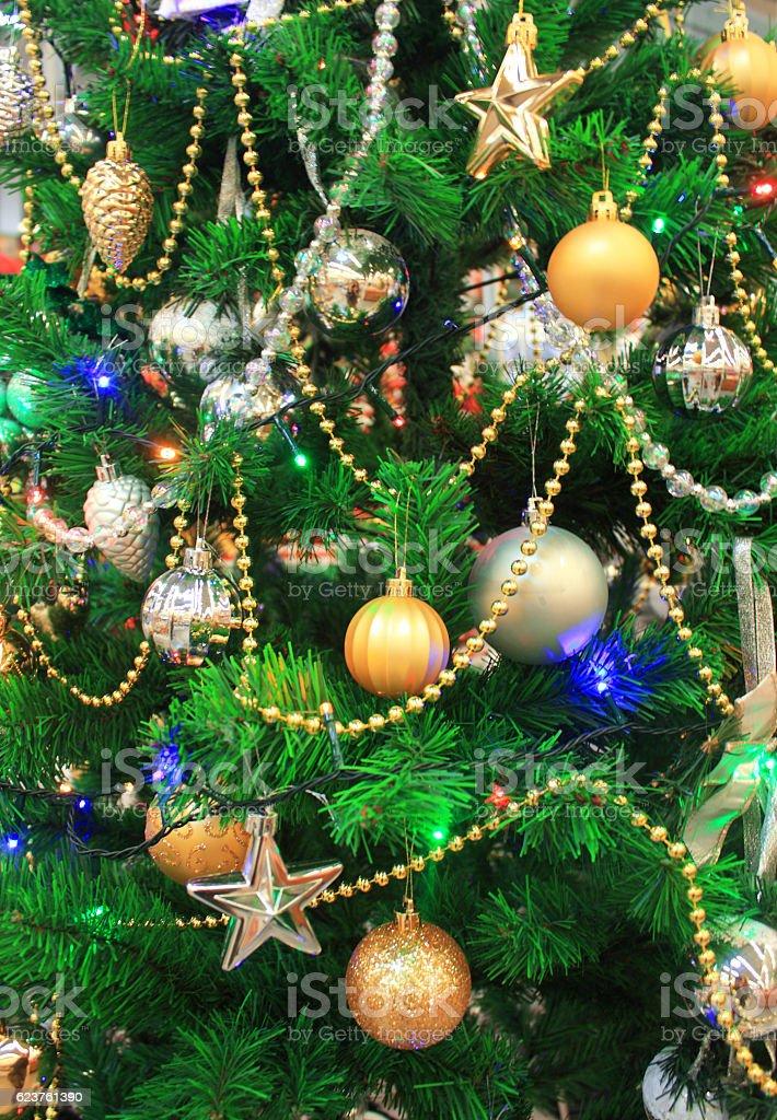 Decorations on the Christmas tree, closeup stock photo