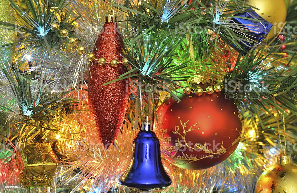 Decorations on the Christmas tree royalty-free stock photo