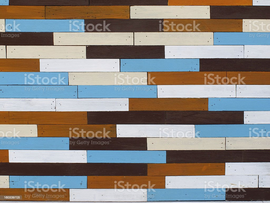 Decorative and colorful wood wall royalty-free stock photo