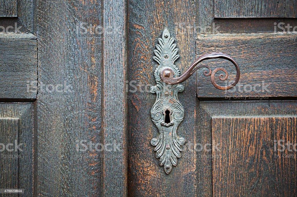 decorative antique door handle stock photo