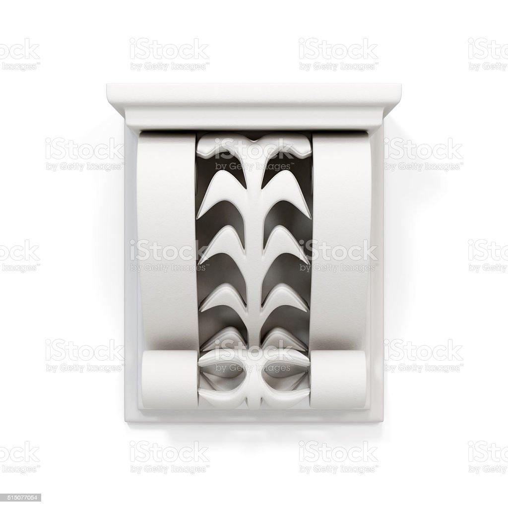 Decorative architectural bracket isolated on white background. 3 stock photo