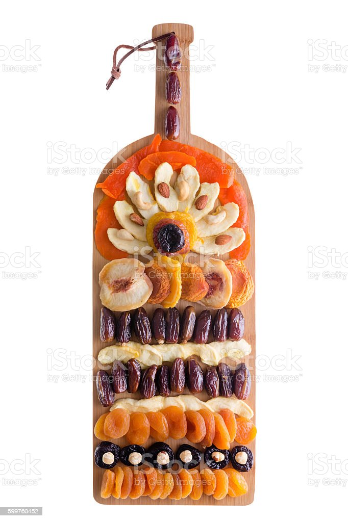 Decorative arrangement of dried fruit and nuts stock photo