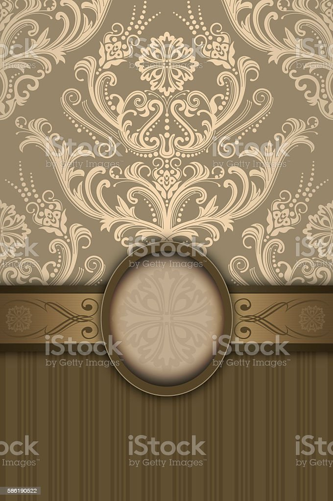 Decorative background with border and floral patterns. stock photo