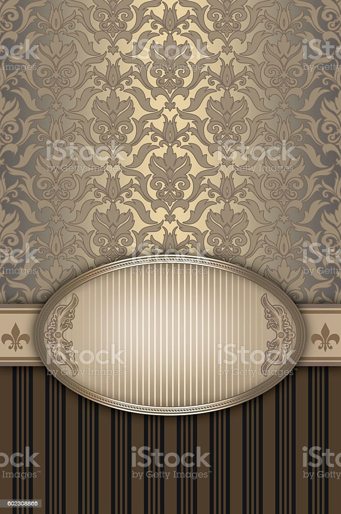Decorative background with elegant border and patterns. stock photo