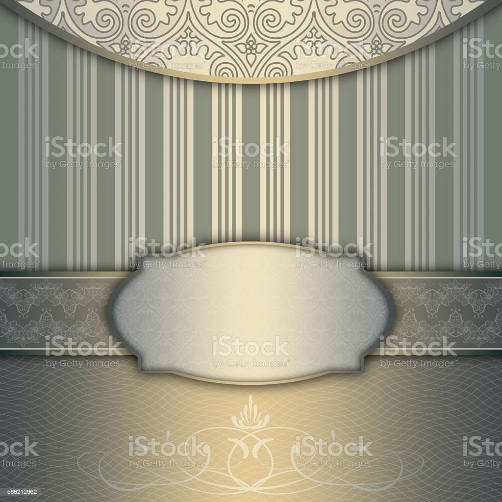 Decorative background with elegant frame and patterns. stock photo