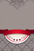 Decorative background with elegant ribbon and patterns.