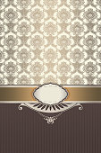 Decorative background with vintage frame and patterns.