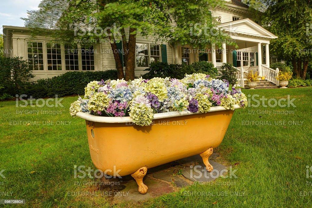 Decorative Bathtub on Lawn stock photo