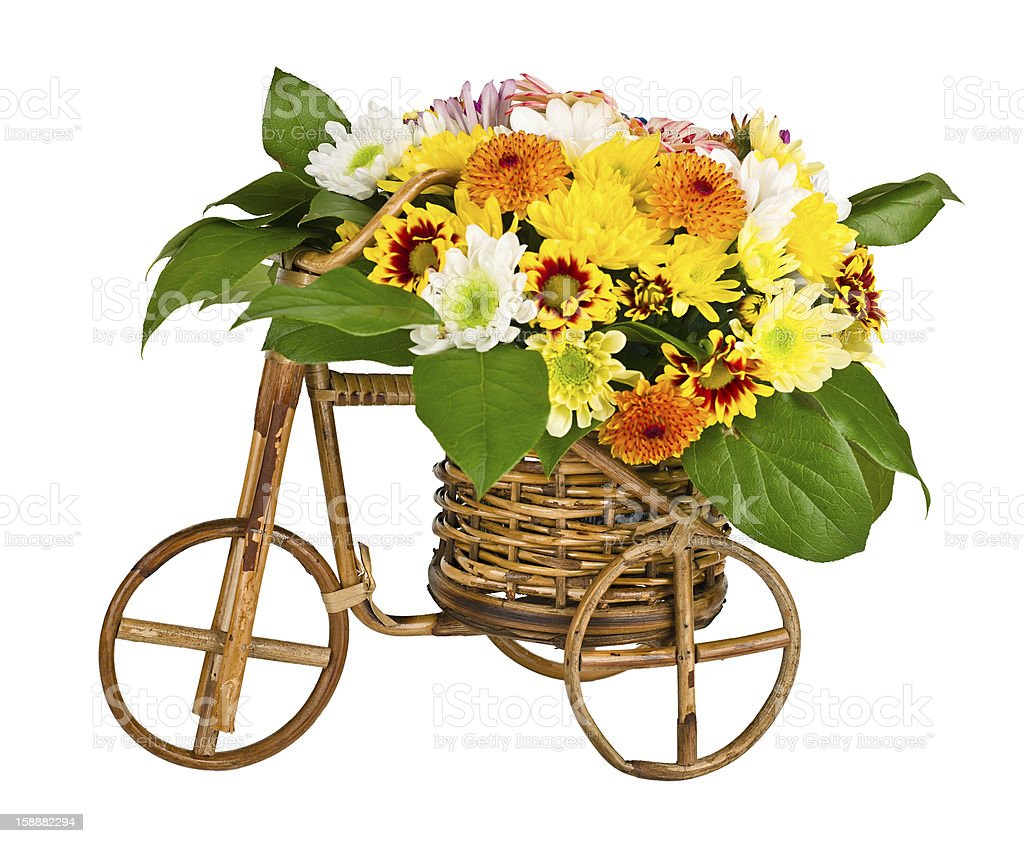 Decorative bicycle vase with flowers royalty-free stock photo