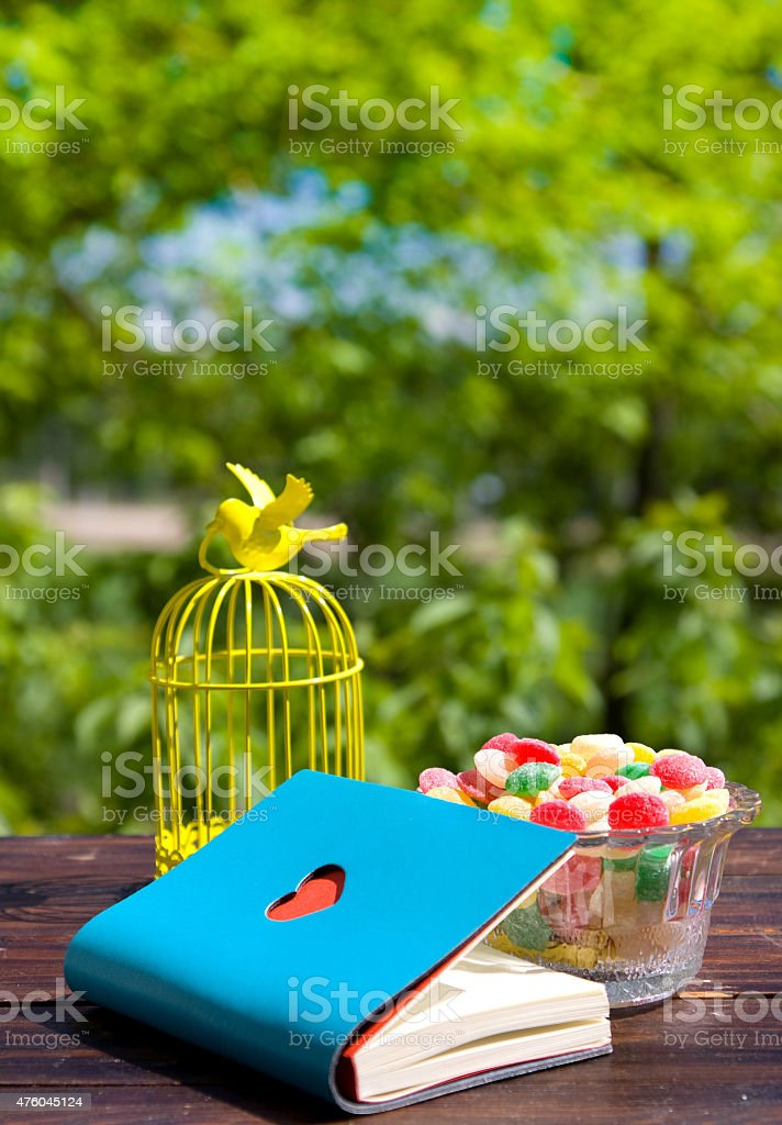 Decorative bird cage, book with heart and candy stock photo