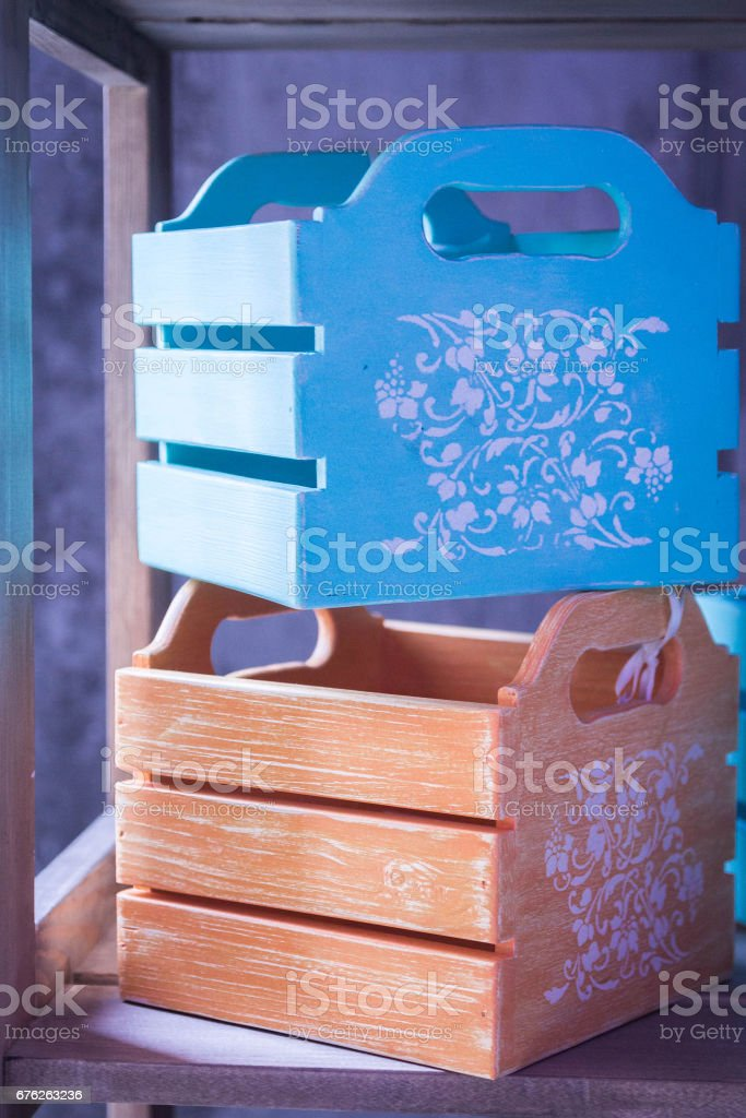 Decorative boxes, drawers. Interior box. Colorful boxes.