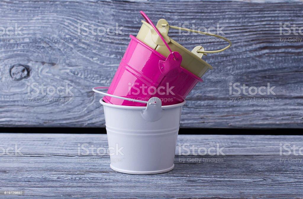 Decorative buckets for interior. stock photo