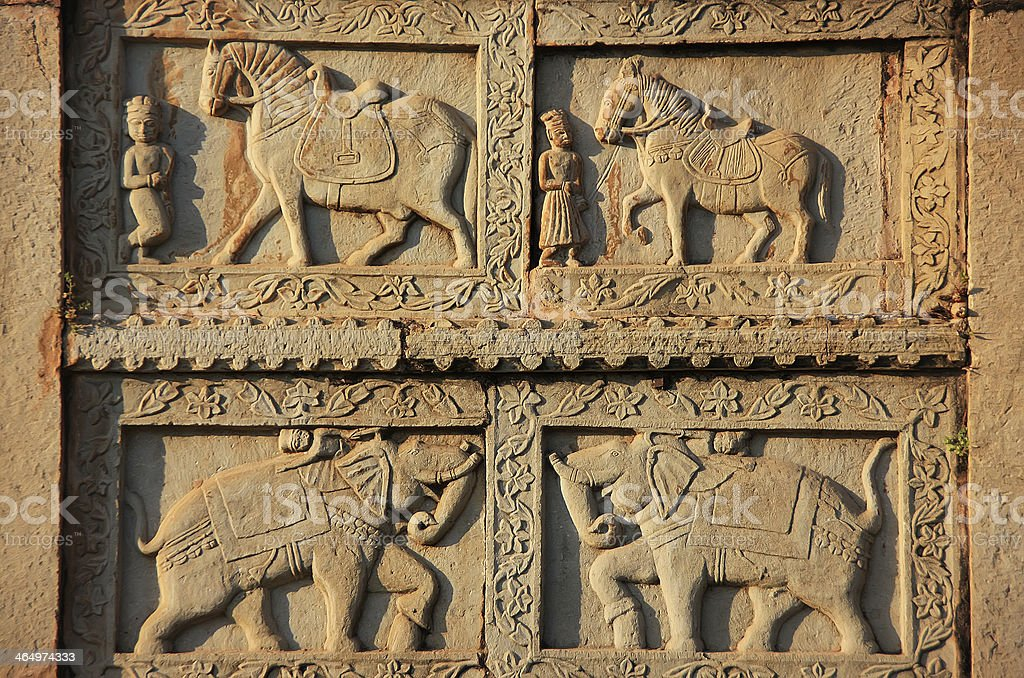 Decorative carving on the wall of 84-Pillared Cenotaph, Bundi, R stock photo