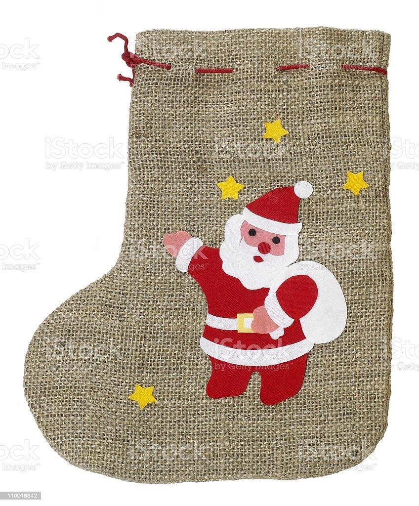 decorative christmas sock with Santa Claus royalty-free stock photo