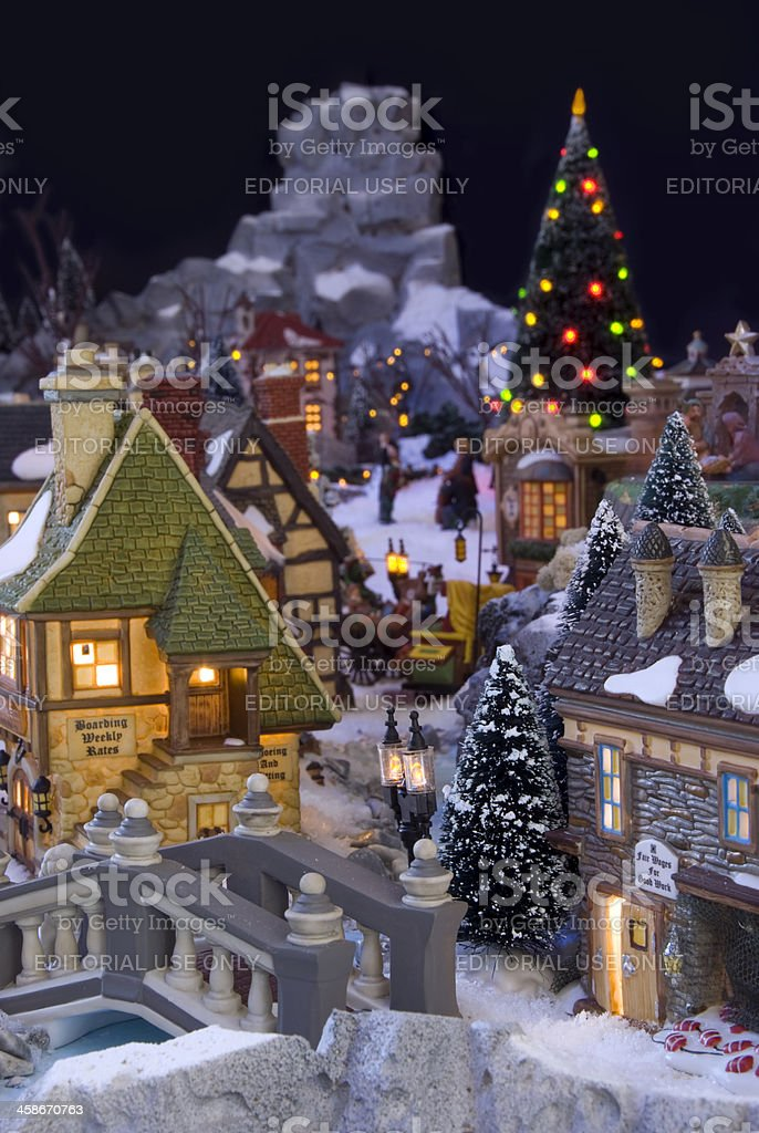 Decorative christmas village with Charles Dickens theme stock photo