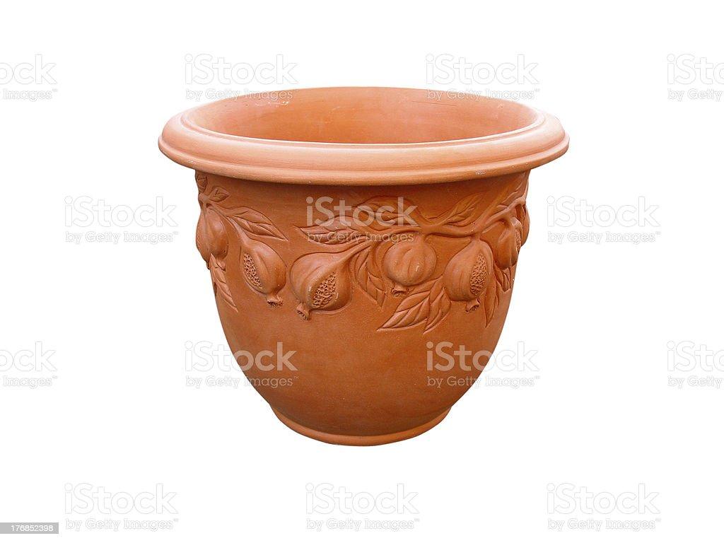 Argila decorativa Jarra com padrão floral isolado foto de stock royalty-free