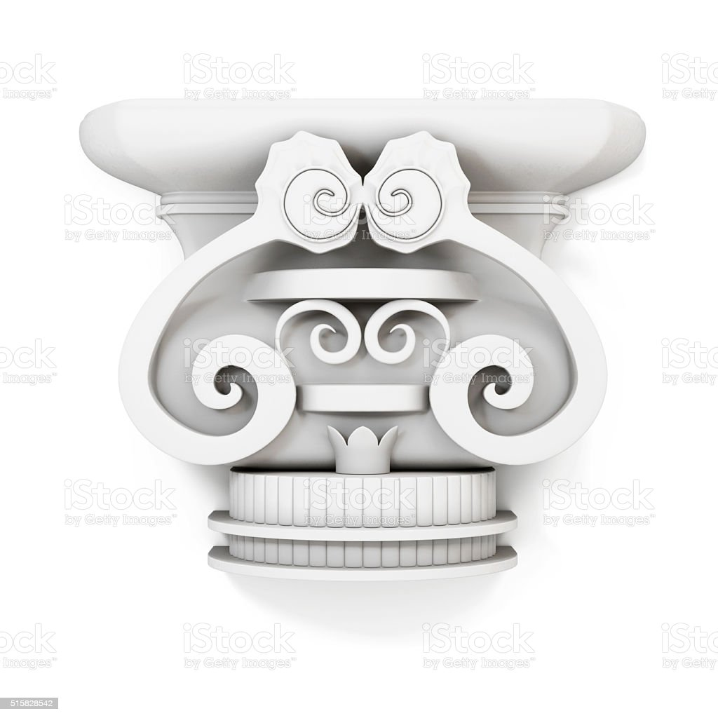 Decorative console isolated on white background. 3d rendering stock photo