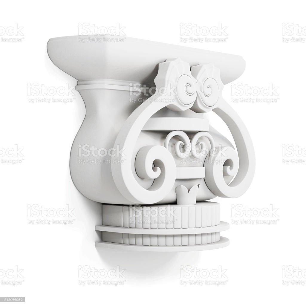 Decorative cornice isolated on white background. 3d render image stock photo