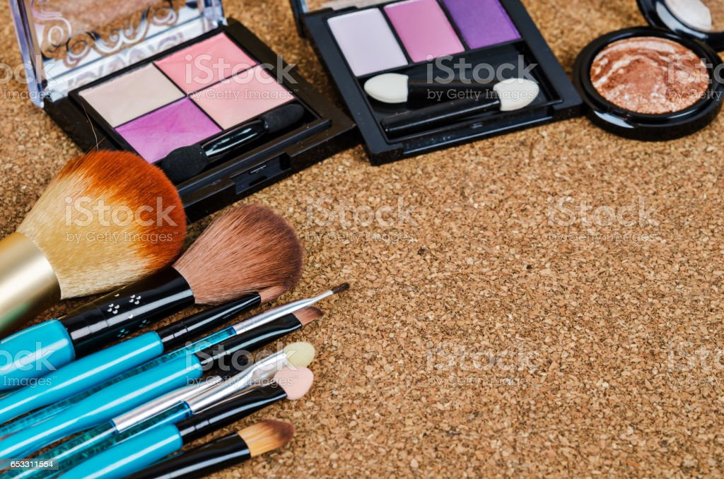 Decorative cosmetics laying out as a frame stock photo