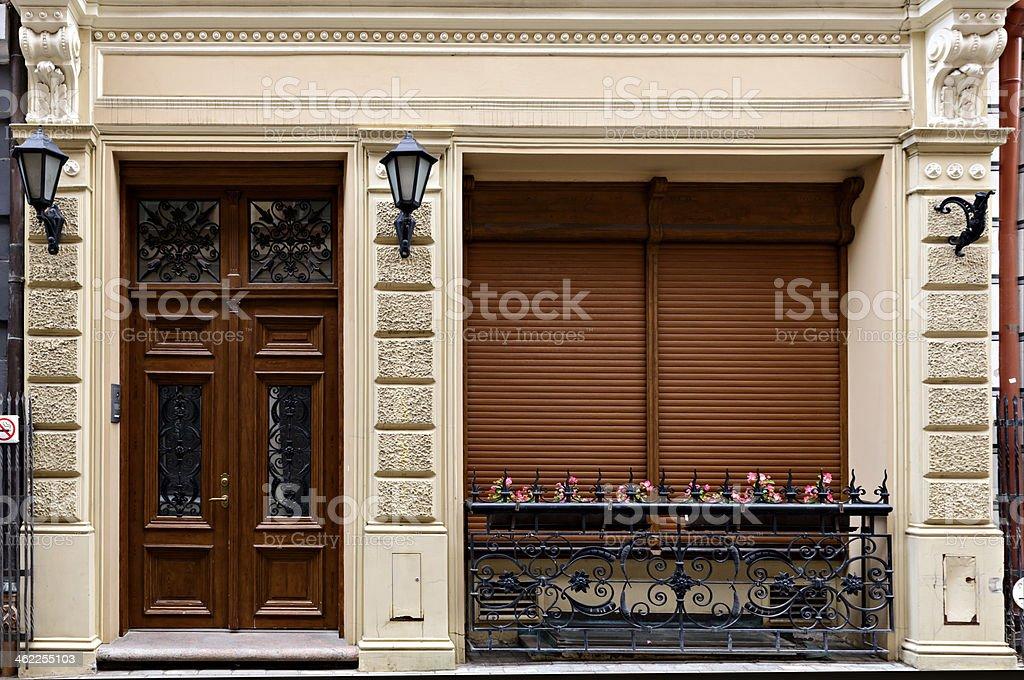 Decorative door and balcony , Riga royalty-free stock photo
