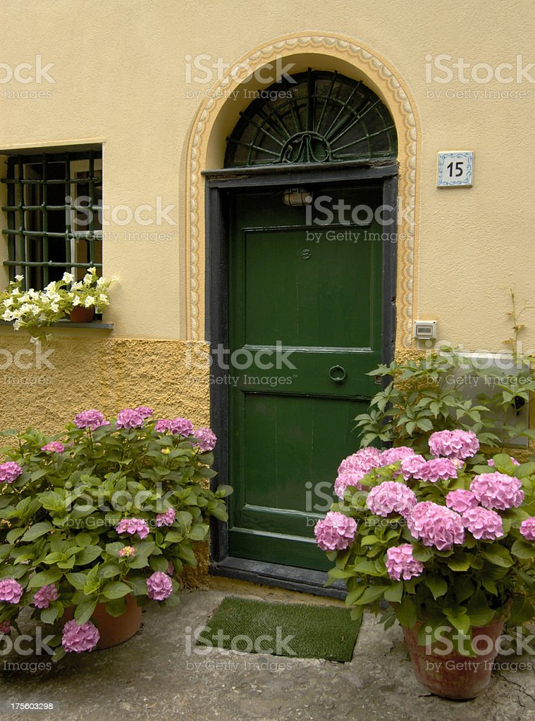 Decorative doorway with potted flowers and hydrangeas. royalty-free stock photo