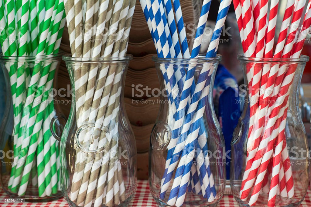 Decorative drinking straws stock photo