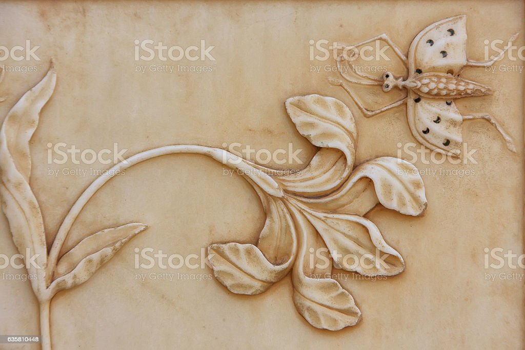 Decorative element on the wall of Jai Mandir (Mirror Palace) stock photo