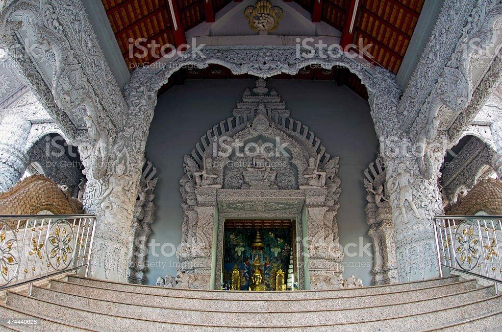 Decorative entrance of Thai Buddhist temple stock photo