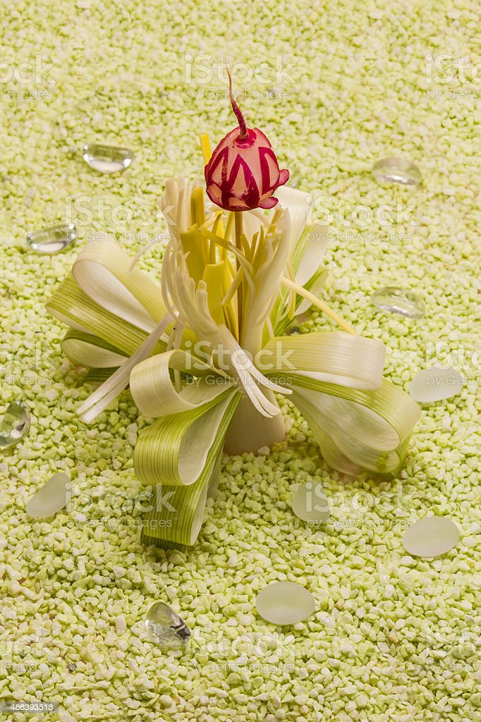 Decorative flower of leeks and radishes royalty-free stock photo