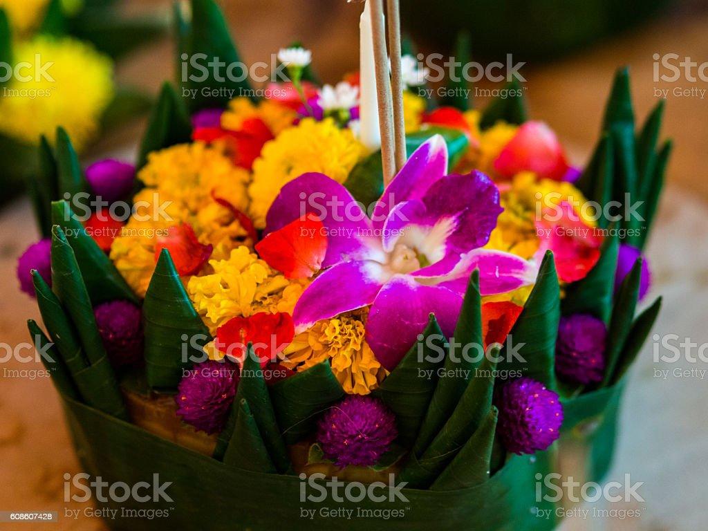 Decorative flowers in Bangkok, Thailand stock photo