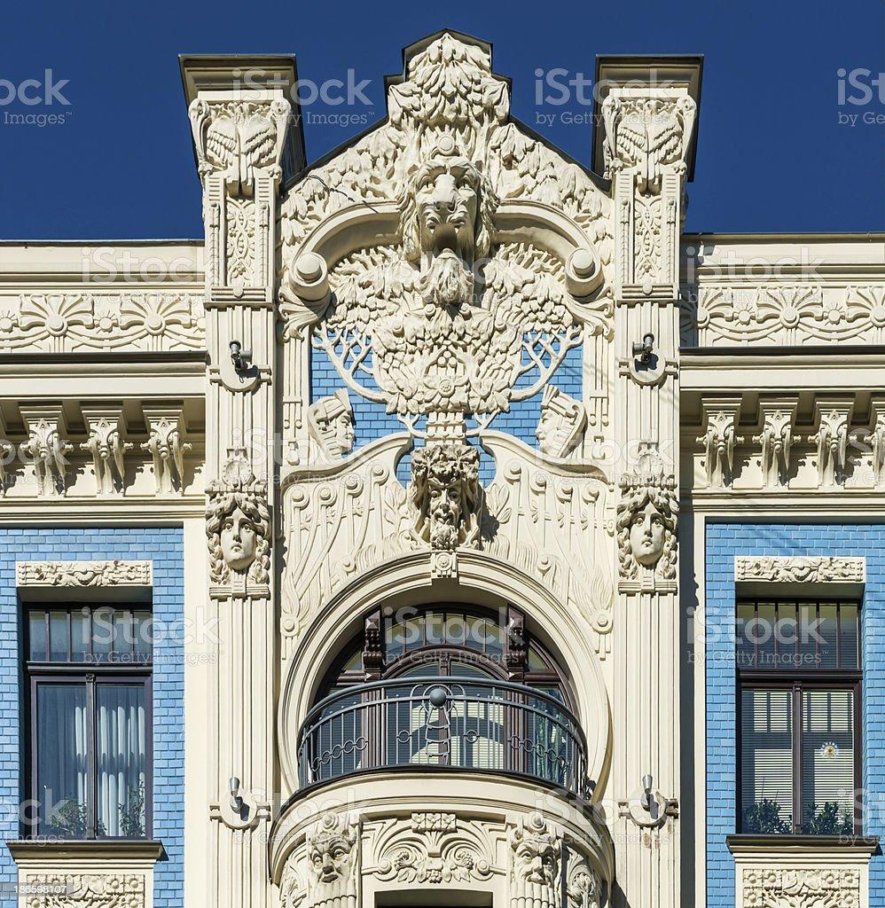 Decorative fragment of building, Riga, Latvia stock photo