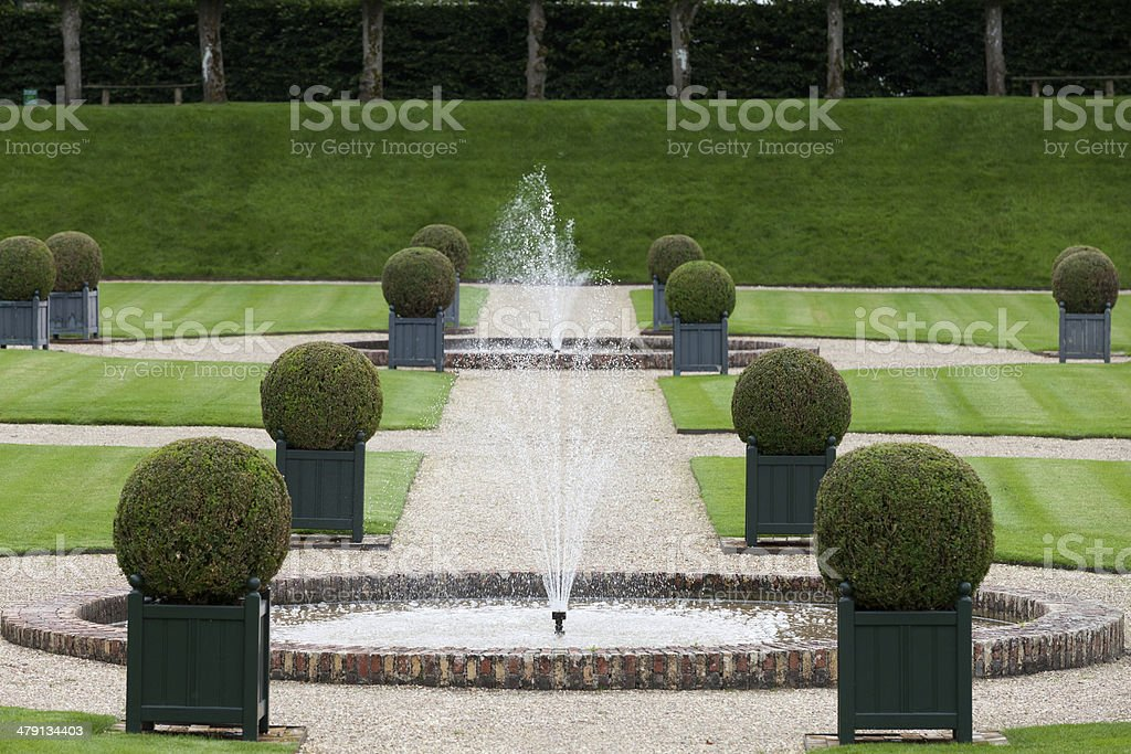 decorative gardens at castles in France stock photo