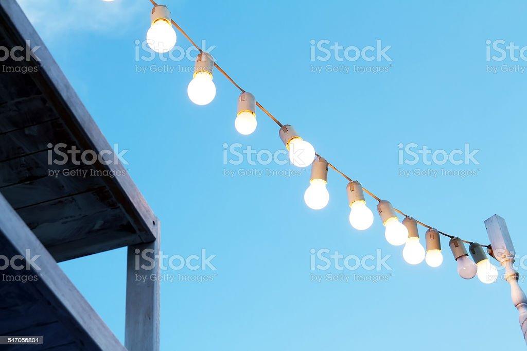 Decorative garland lights stock photo
