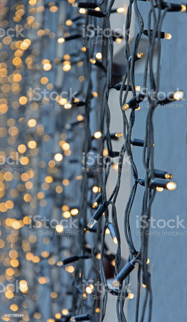 Decorative garland of light bulbs stock photo