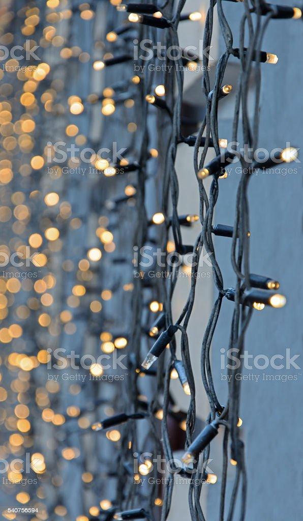 Decorative garland of light bulbs stock photo
